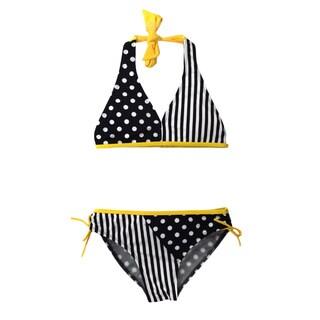 Jump'N Splash Girl's Yellow/Black Polka Dot Bikini Swimsuit