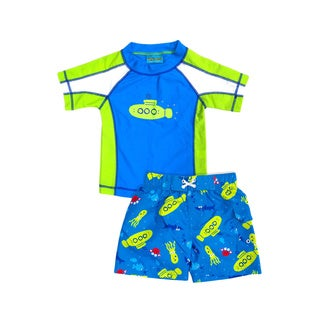 Jump'N Splash Boy's Lime Green Submarine Rash Guard Set