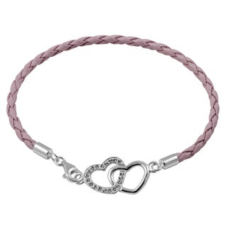 Sterling Silver Genuine Leather Heart Bracelet