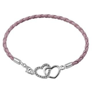 Sterling Silver Genuine Leather Heart Bracelet