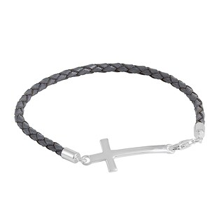 Sterling SIlver and Grey Leather Cross Bracelet