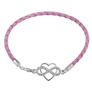 Sterling Silver and Leather Infinity Heart Bracelet