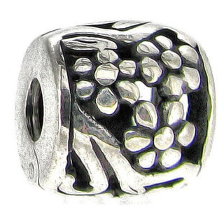 Queenberry Sterling Silver Filigree Floral Barrel Stopper European Bead Charm