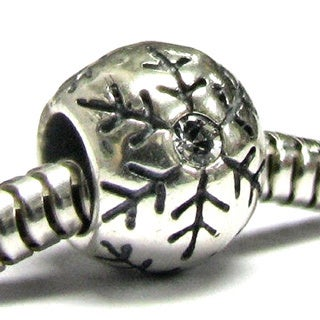 Queenberry Sterling Silver Snowflake Cubic Zirconia European Bead Charm