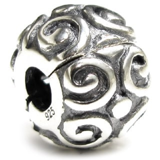 Queenberry Sterling Silver Swirl Floral Clip Lock Stopper European Bead Charm