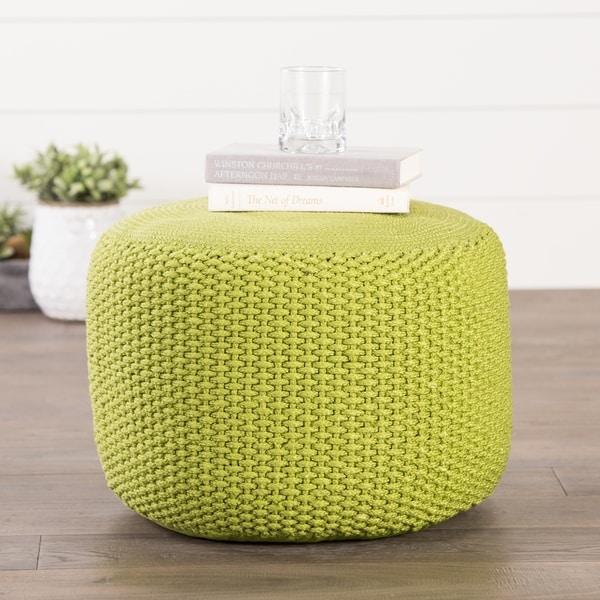 Handmade Pattern Polypropylene Green Pouf