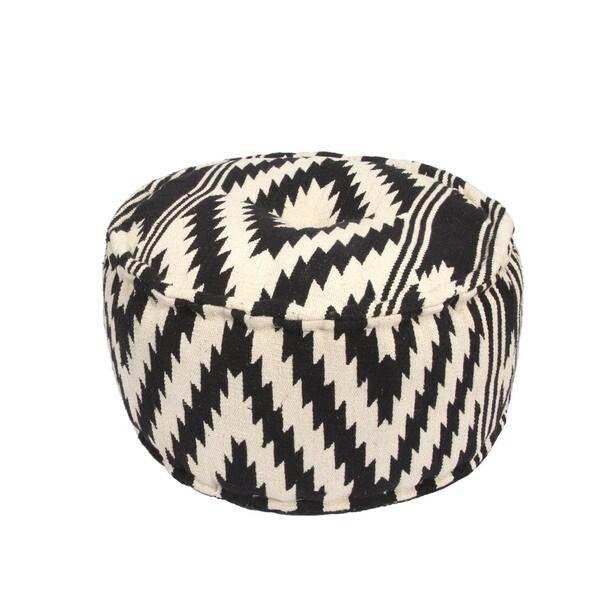 Handmade Pattern Cotton Black 24x24 Pouf