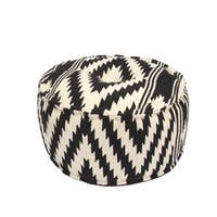 Handmade Pattern Cotton Black 24x24 Pouf