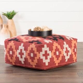 Handmade Pattern Cotton Red/ Multi 24x24 Pouf