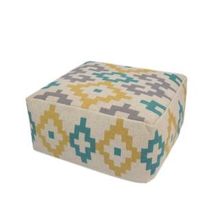 Handmade Pattern Cotton Yellow/ Multi 24x24 Pouf