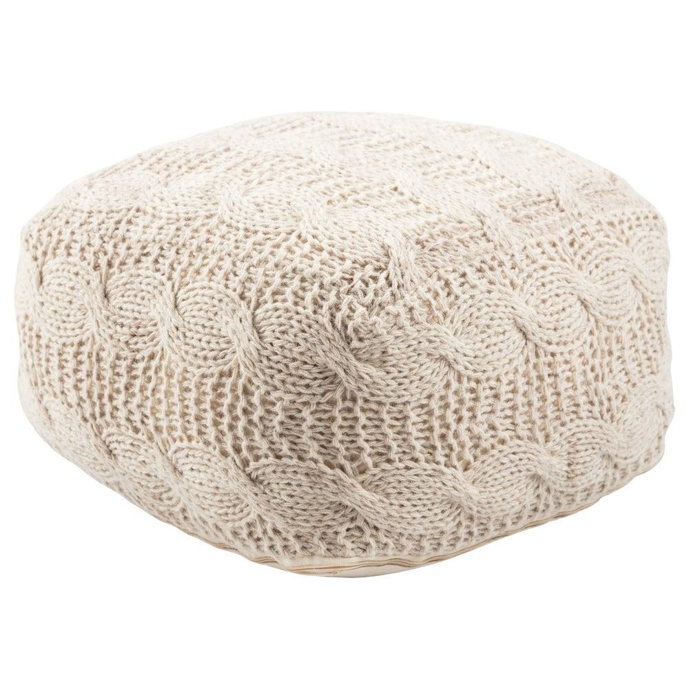 Shop Handmade Pattern Wool Ivory Pouf - Overstock - 10077451