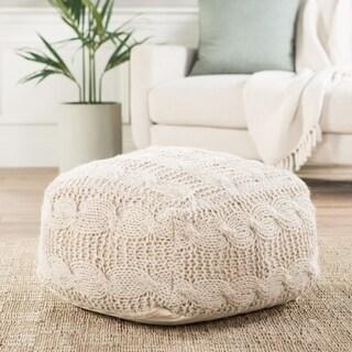 Handmade Pattern Wool Ivory 20x20 Pouf