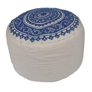 Handmade Pattern Cotton Ivory/ Blue 24x24 Pouf