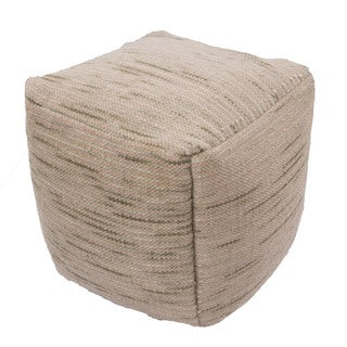 Handmade Pattern Wool Green 18x18 Pouf
