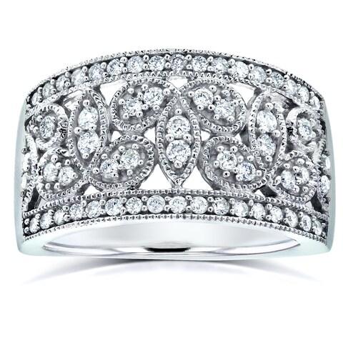 Annello 14k White Gold 1/2ct TDW White Diamond Floral Diamond Band