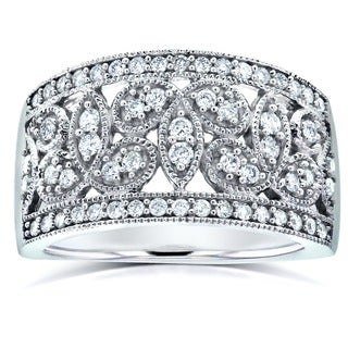 Annello 14k White Gold 1/2ct TDW White Diamond Floral Diamond Band