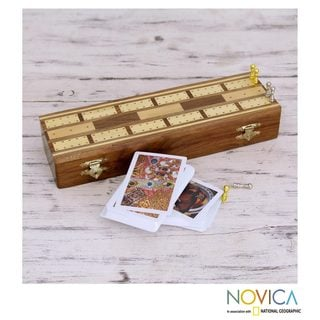 Handcrafted Sheesham Wood Brass 'Flushes II' Cribbage Set (India)