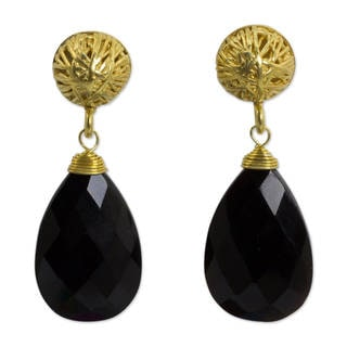 Handcrafted Gold Vermeil 'Black Serenade' Agate Earrings (Thailand)