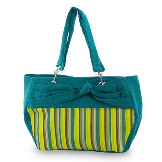 Handcrafted Cotton 'Emerald Parallels' Shoulder Bag (Guatemala)
