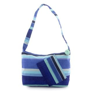 Handcrafted Cotton 'Colors of My Ocean' Shoulder Bag (Guatemala)