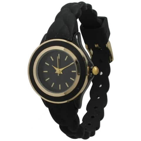 Olivia Pratt Women's Skinny Braided Silicone Band Watch