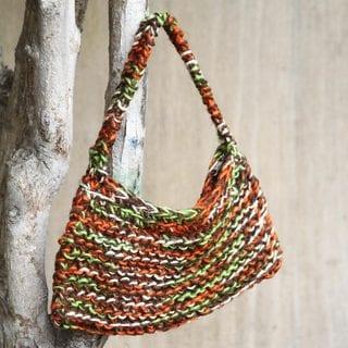 Handcrafted Jute 'Orange Grove' Handbag (Peru)