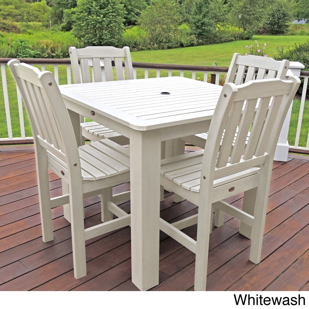 Charming ... Synthetic Wood Patio Furniture By Highwood Eco Friendly Synthetic Wood  Lehigh 5 Piece Square Dining ...