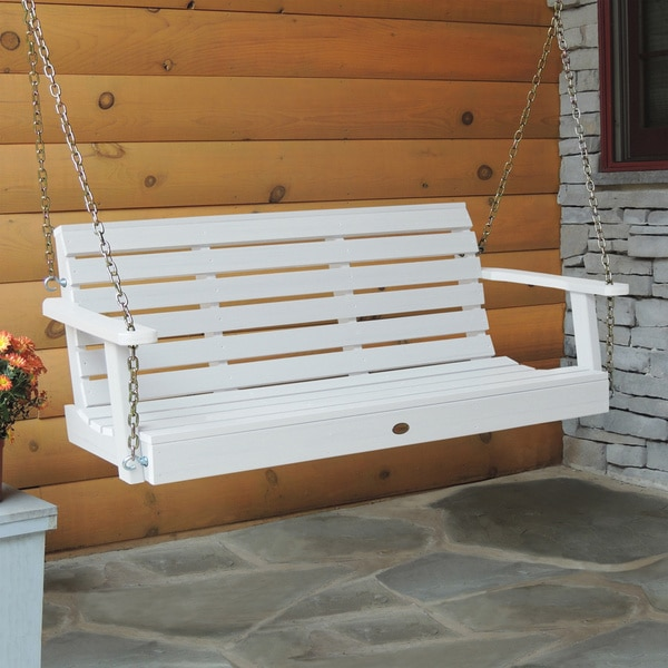 highwood weatherly 5foot ecofriendly marinegrade synthetic wood porch swing free shipping today - Wooden Porch Swing