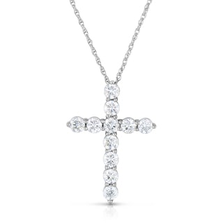 Eloquence 14k White Gold 2ct TDW Diamond Cross Necklace (H-I, I2-I3)