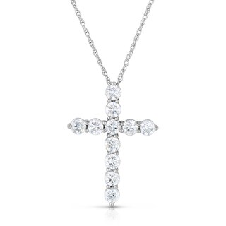 Eloquence 14k White Gold 2ct TDW Diamond Cross Necklace