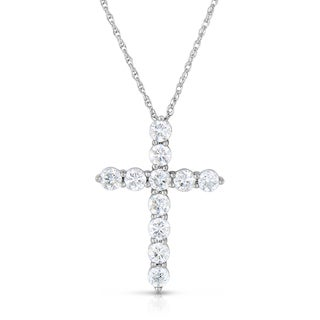 Eloquence 14K White Gold 1ct TDW Crossed Diamond Pendant (H-I, I2-I3)