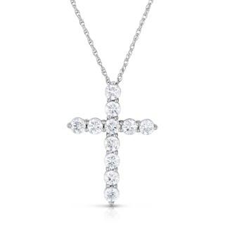 Eloquence 14K White Gold 1ct TDW Crossed Diamond Pendant