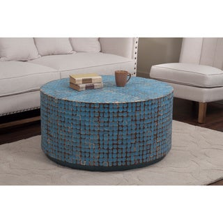 Decorative Keno Modern Blue Round Cocktail Table