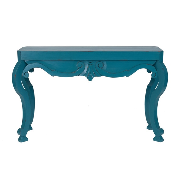 Decorative Oakland Casual Teal Rectangle Console Table