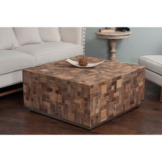 Decorative Paisley Modern Brown Square Cocktail Table