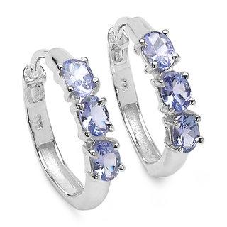 Malaika 1.02 Carat Genuine Tanzanite .925 Sterling Silver Earrings