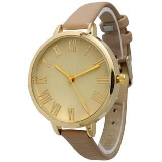 Olivia Pratt Women's Skinny Classic Leather Band Watch (Option: Beige)