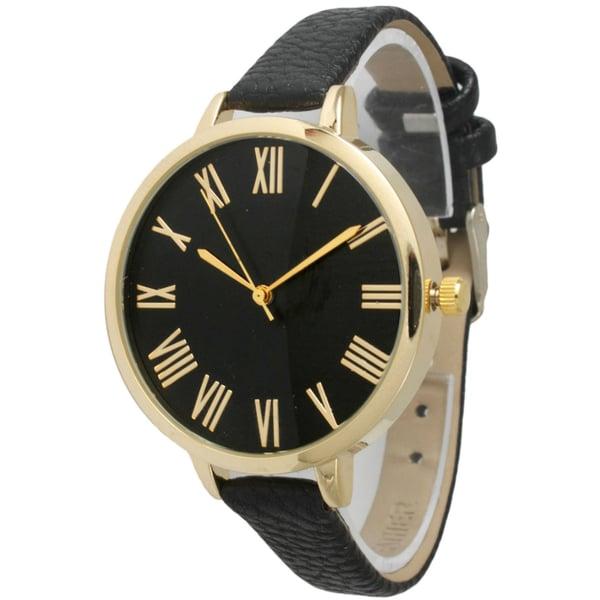 Olivia Pratt Women's Skinny Classic Leather Band Watch