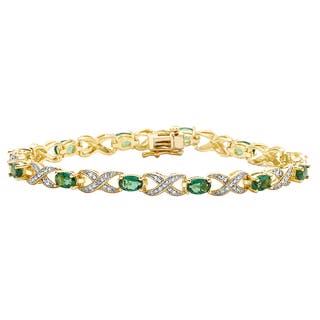 Divina 14k Yellow Gold Overlay Emerald and Diamond Accent Bracelet|https://ak1.ostkcdn.com/images/products/10077759/P17221153.jpg?impolicy=medium