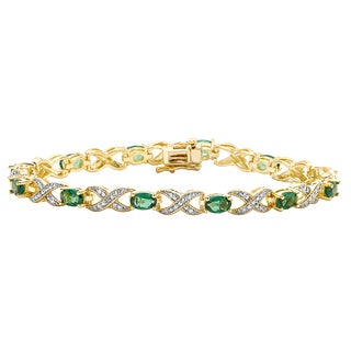 Divina 14k Yellow Gold Overlay Emerald and Diamond Accent Bracelet