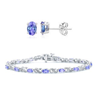 Divina Rhodium over Brass Tanzanite and Diamond Accent 2-piece Jewelry Set
