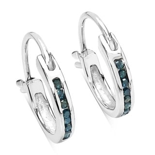 Malaika Sterling Silver 1/6ct TDW Blue Diamond Hoop Earrings