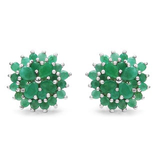 Malaika 2.40 Carat Genuine Emerald .925 Sterling Silver Earrings