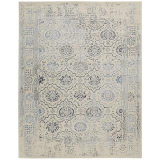 Nourison Symphony Ivory/Blue Rug (5'6 x 7'5)