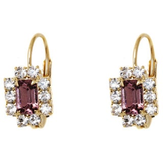 Yellow Gold Plated Crystal Rectangle Leverback Earrings