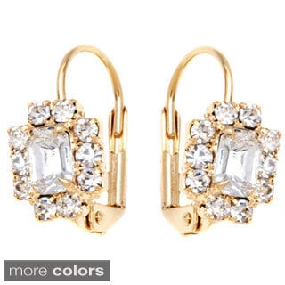 Peermont Jewelry 18k Yellow Goldplated Crystal Rectangle Leverback Earrings