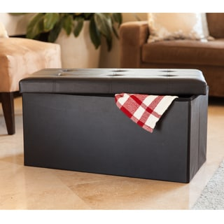 Danya B. Black Faux Leather Folding Storage Bench with Buttons
