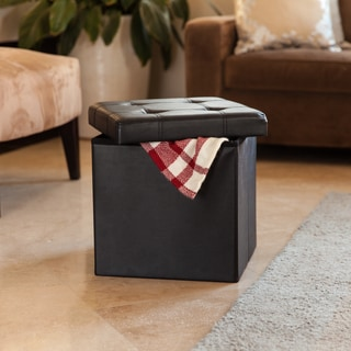 Danya B Folding Storage Ottoman with Buttons -Black Faux Leather