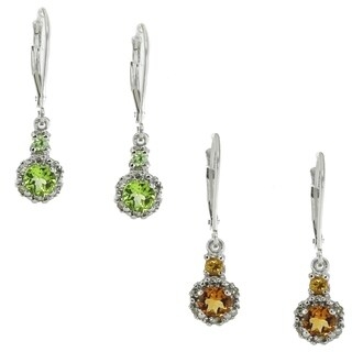 Michael Valitutti 14k White Gold Diamond Earrings Choice of Peridot, Citrine