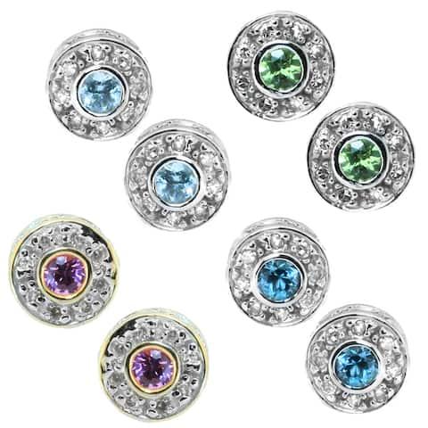Gems en Vogue 14k White Gold Round Gemstone Diamond Accent Earrings